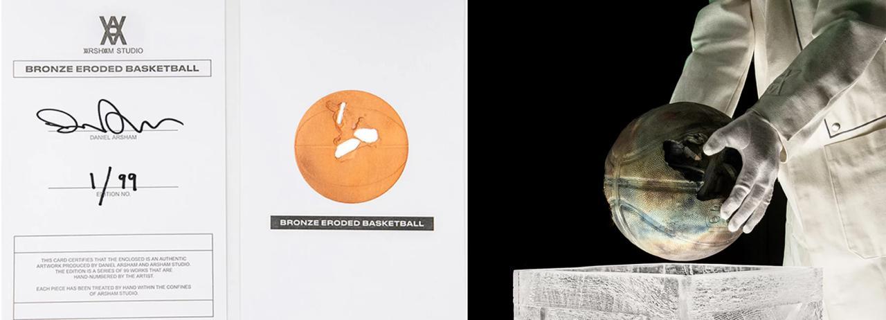 گذشته، حال و آینده در مجسمه یک توپ بسکتبال